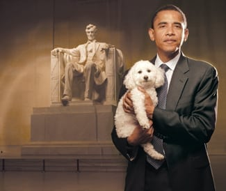 Obama and Baby the Three Legged Dog